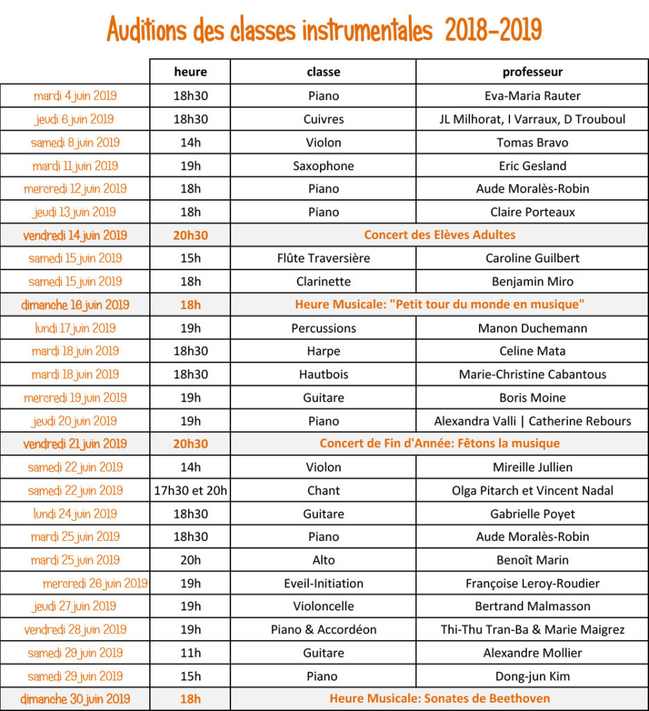 auditions instrumentales Ecole de Musique du Chesnay juin 2019
